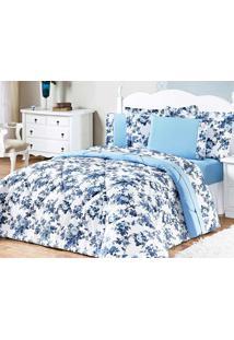 Kit Edredom Murano King Azul Floral Com 3 Peças - Aquarela