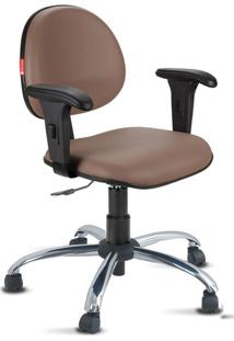 Cadeira Escritório Marrom Cromada Com Braços