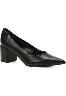 Scarpin Couro Shoestock Salto Médio Lezard - Feminino-Preto