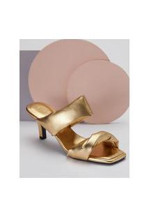 Amaro Feminino Sandália Mule Detalhe Torcido Metalizado, Dourado
