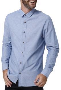 Camisa Manga Longa Masculina Azul - Masculino