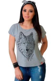 Camiseta Wevans Lobo Tattoo Cinza