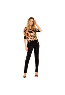 Blusa Decote Careca Estampa Animal Print Detalhe De Punho* Preta