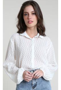 Camisa Feminina Mindset Texturizada Manga Longa Off White