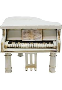 Enfeite Metal Minas De Presentes Piano Branco - Kanui