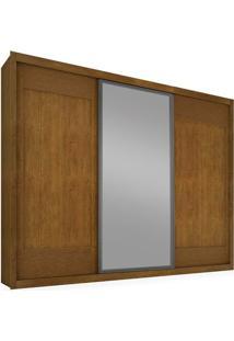 Guarda-Roupa 3 Portas De Correr, Espelho Central, Imbuia, Boston Ii