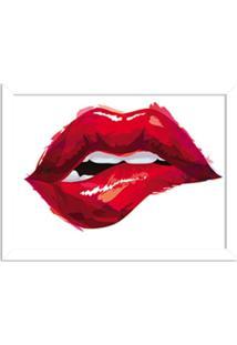 Quadro Decorativo Boca Glamour Vermelha Branco - Médio