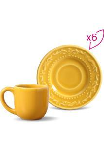 Jogo De Xícaras De Café Acanthus - Amarelo - 6Pçs