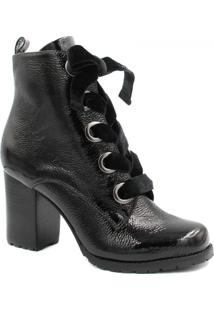Bota Cano Curto Zariff Shoes Verniz Salto Feminina - Feminino-Preto