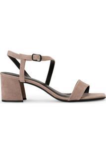 Sandália Salto Grosso Assimétrica
