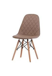 Cadeira Eames Matelasse Cor Fendi Com Base Madeira - 61197 Fendi