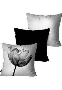Kit Com 3 Capas Para Almofadas Decorativas Branco Flor 45X45Cm