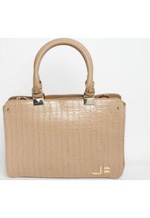 Bolsa Retangular Em Couro - Nude & Dourada - 27X37X1Jorge Bischoff