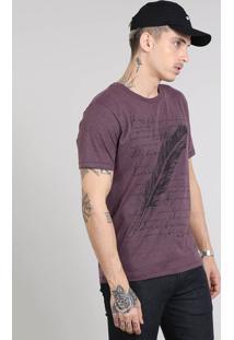 Camiseta Masculina Com Estampa De Pena Manga Curta Gola Careca Roxa