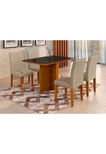 Conjunto De Mesa De Jantar Com Vidro E 4 Cadeiras Ane Suede Imbuia E Preto