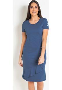 Vestido Moda Evangélica Azul Com Botões