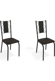Conjunto Com 2 Cadeiras De Cozinha Lisboa Preto