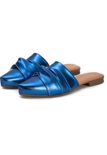 Sapatilha Mule Slip Feminino Confort Bico Fino Azul Metalizado - Azul - Feminino - Dafiti