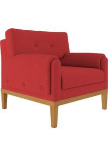 Poltrona Decorativa Base Madeira Sala De Estar Maya Veludo Vermelho - Gran Belo