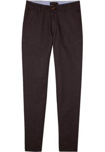 Calca Sarja Bolso Faca Listrada (Jeans Escuro Amaciado, 42)