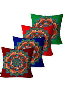 Kit Com 4 Capas Para Almofadas Pump Up Decorativas Vermelho Mandala 45X45Cm