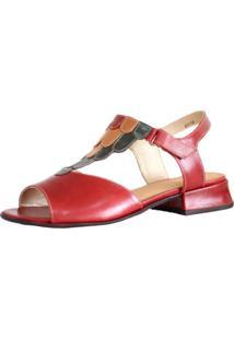 Sandália Zambeze Baixa Estilo Retrô Vintage Vermelha 5748