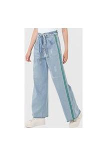Calça Jeans Oh, Boy! Pantalona Amarração Azul