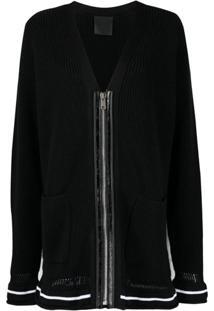 Givenchy Cardigan De Tricô Com Logo - Preto