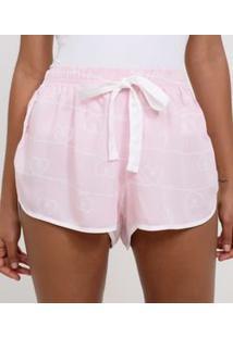 Short De Pijama Estampa Coração