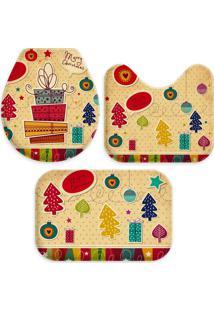 Jogo Tapete Love Decor Para Banheiro Collage Merry Christmas Único - Kanui