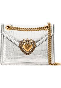 Dolce & Gabbana Bolsa Tiracolo Devotion Média - Cinza