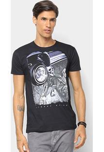 Camiseta Watkins & Krown Caveira Masculina - Masculino-Preto+Roxo