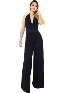 Macacáo Dress Code Moda Pantalona Preto - Tricae