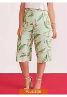 Calca Pantacourt Tecido Com Elastico Verde