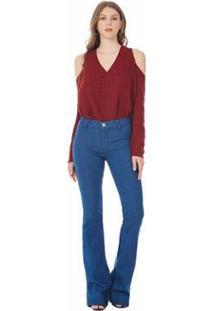 Calça Iódice Io Flare Iggy Satim Royal Blue Jeans Feminina - Feminino