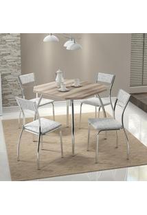 Conjunto Mesa 1504 Nogueira Cromada Com 4 Cadeiras 1701 Fantasia Branco Carraro