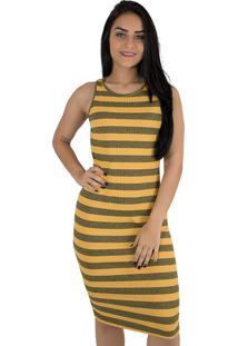 Vestido Linha Noite Listrado Comprido Amarelo