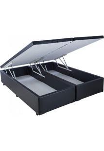 Cama Box Baú Bipartido Master King 193 X 203 X 44 Preto Pistão A Gás (Corino Dentro E Fora Do Baú)