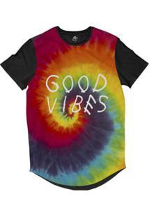 Camiseta Bsc Longline Tie Dye Vibrações Boas Sublimada Masculina - Masculino-Preto