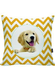 Capa Para Almofada Dog- Amarela & Branca- 45X45Cm