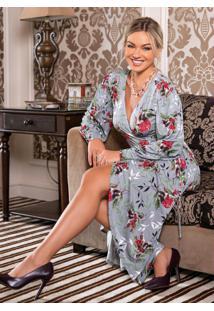 Vestido Midi Transpassado Floral Cinza Mullet
