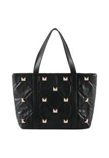 Bolsa Shopping Bag Gabriela Com Tachas Preto