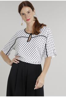 11e7bdc2d ... Blusa Feminina Estampada De Poá Com Vivo Contrastante Manga Curta  Decote Redondo Off White