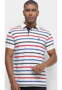 Camisa Polo Aleatory Listrada Fio Tinto Masculina - Masculino-Branco+Vermelho