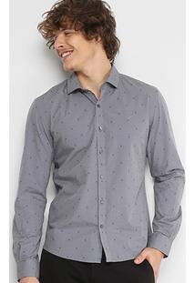 Camisa Slim Em Jacquard Ellus Estampada Manga Longa Masculina - Masculino-Cinza
