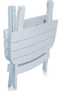 Conjunto Mesa E 2 Cadeira Dobrável Ripada Plástico