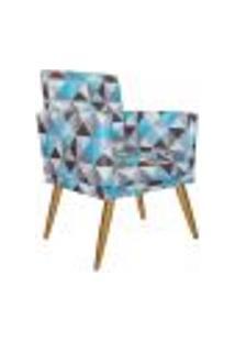 Poltrona Decorativa Nina Com Rodapé Suede Triângulos Azul