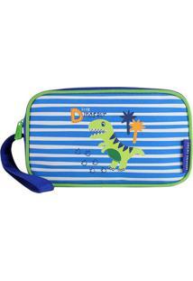 Nécessaire Listrado Dinossauro- Azul Escuro & Verde-Jacki Design