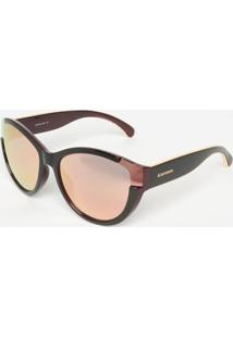 Óculos De Sol Arredondado - Rosê Gold & Roxo Escurocarmim