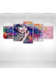 Quadro Decorativo - Art Color Girl - Composto De 5 Quadros